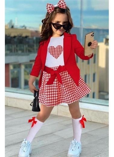 Riccotarz Kız Çocuk Blazer Ceketli Kazayağı Etekli Takım Kırmızı